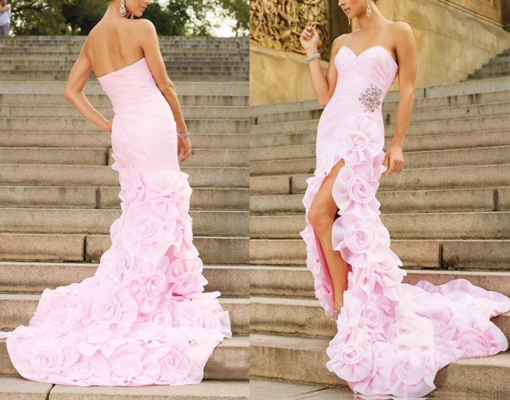 #pink #evening #dress Elegant beading long-train evening dress #coniefox #2016prom