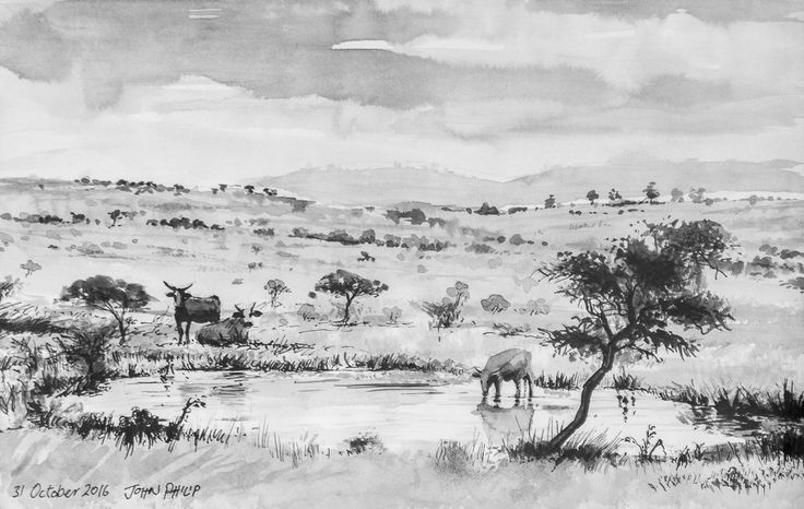 Day 31 - Landscape with cattle in ink #inktober #inktober2016 http://www.johnphilip.co.za/?p=1461  And that's it for Inktober 2016. Thanks for all the support and encouragement. A summary of the month's sketches can be found on my website here: http://www.johnphilip.co.za/tag/inktober2016/