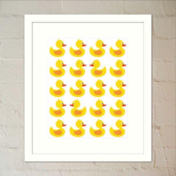 Yellow Baby Ducks Nursery Print  Wall Art Print by paper4download