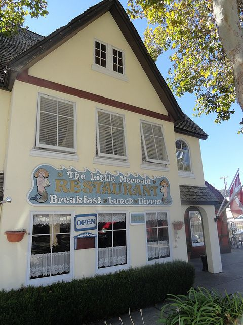The Little Mermaid Restaurant in Solvang, CA, USA. You can enjoy tasty Danish meals for breakfast, lunch and dinner there.