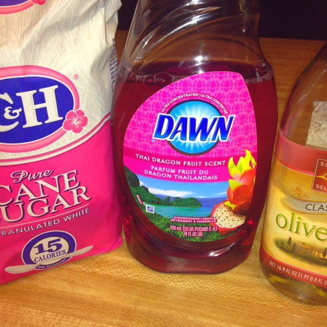 Dry cracked feet? Or maybe just want post-pedi feel?? Mix together 1/4 cup regular sugar: 1 tbs olive oil: 1 tbs dawn dish soap. Rub scrub on your feet and scrub with whatever you want! Your feet will be smooth and smell great! :) ~Shannon