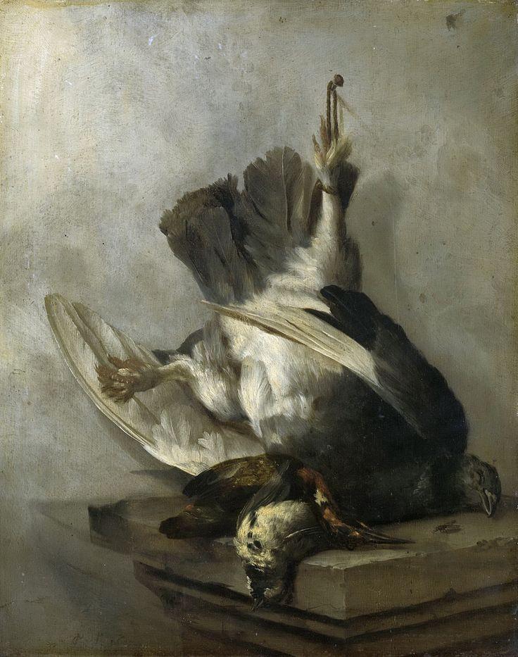 Cornelis Lelienbergh Натюрморт с дятлом и бекасом  (Still Life with Woodpecker and Snipe)  1655_47 х 37.4_д.,м.  Амстердам
