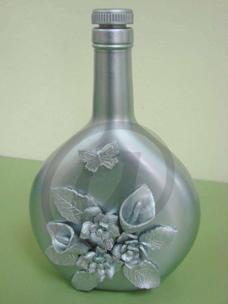 botella de cristal pintada a mano con pasta