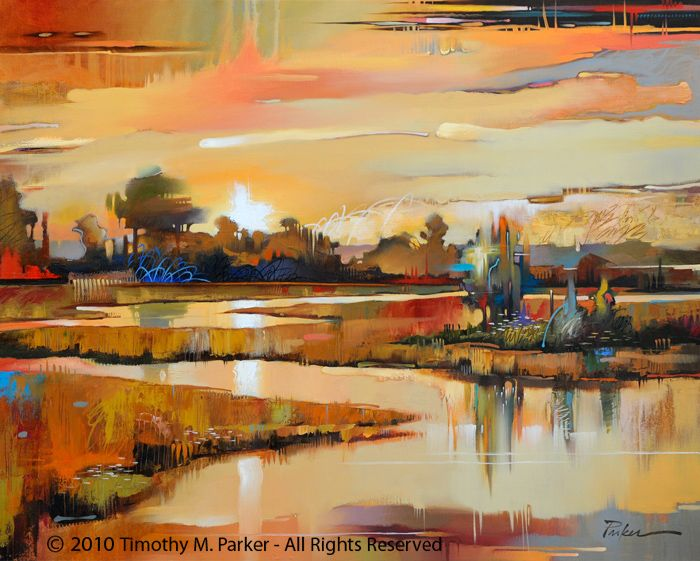 Mill Creek - Abstract Landscape Fine Art Print — Contemporary Fine Art Prints, Modern Landscape and Seascape Painting - Artist Tim Parker at the Art2D Gallery and Studio