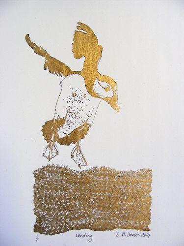 E A Hansen, Landing, 2014, Digital print and gold leaf
