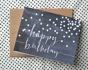 Happy Birthday Greeting Card -- Chalkboard Birthday Card Design -- Hand Lettered Art (4.25 x 5.5)