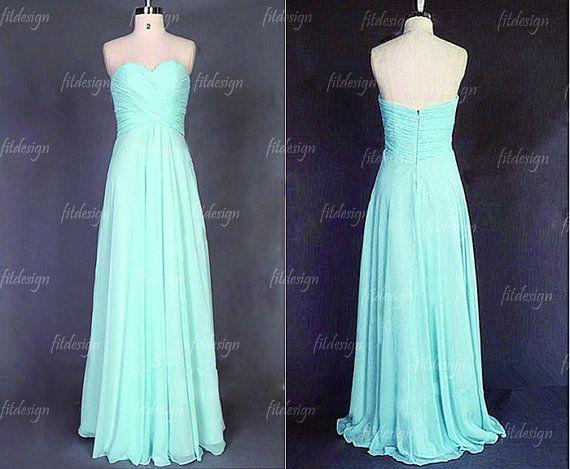 tiffany blue bridesmaid dress long bridesmaid dress by fitdesign, $119.00