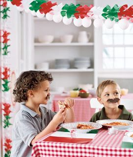 Cute Table cloth for the theme! Domestic Charm: Kids Pizza Party