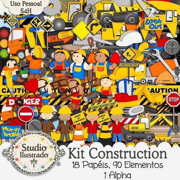 Kit Construction, Kit Construção, Placas, Engeinheiro, Mestre de Obra, Caminhões, Máquinas, Betoneiras, Escada, Martelo, Serrote, Chave de Fenda, Chave Fixa, Chave Inglesa, Britadeira, Trator, Capacete de Segurança, Plates, Engineer, Construction Site Master, Trucks, Machinery, Concrete Mixers, Ladder, Hammer, Saw, Screwdriver, Fixed Key Spanner Sieving, Tractor, Helmet, Kit Digital, Papéis, Alpha, Elementos, Digital Kit, Papers, Elements