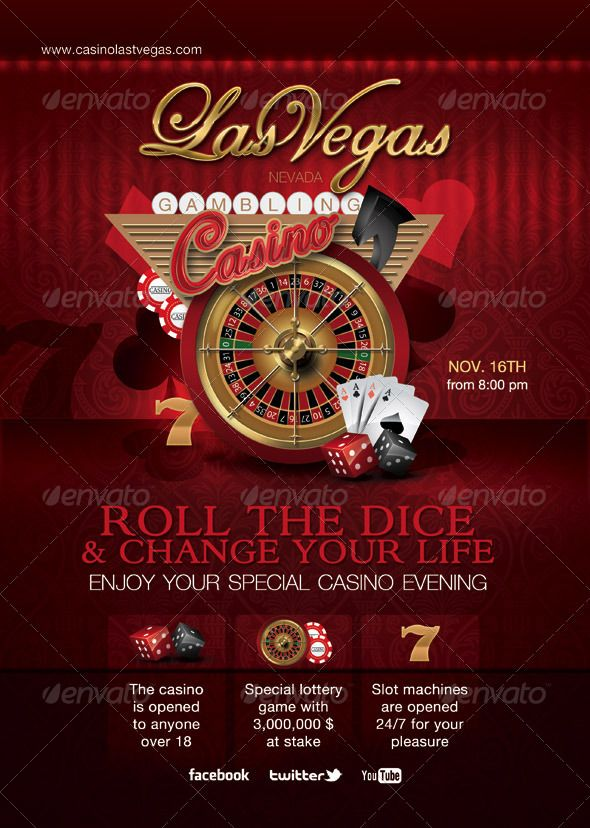 Casino special evening, it is a print template for casino or special event, attraction or evening related to casino gambling. Thi is fully layered, organized, and can be easily edited if required.