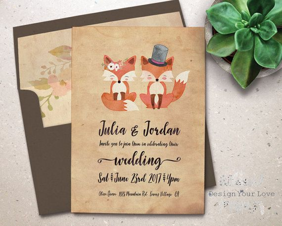 printable wedding invitation printable hipster by DesignYourLove