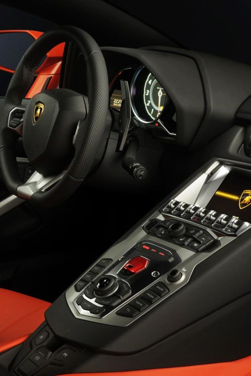 Lamborghini Aventador interior. The finest of the Italians. WOW they're really passionate! This interior is leather, all of it hand stitched!