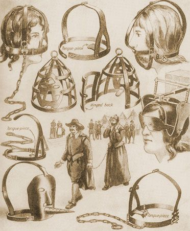 A scold's bridle is a British invention, possibly originating in Scotland, used between the 16th and 19th Century. It was a device used to control, humiliate and punish gossiping, troublesome women by effectively gagging them. Scold comes from the 'common scold': a public nuisance, more often than not women, who habitually gossiped and quarrelled with their neighbours. Commonly used by husbands on their nagging or swearing wives.