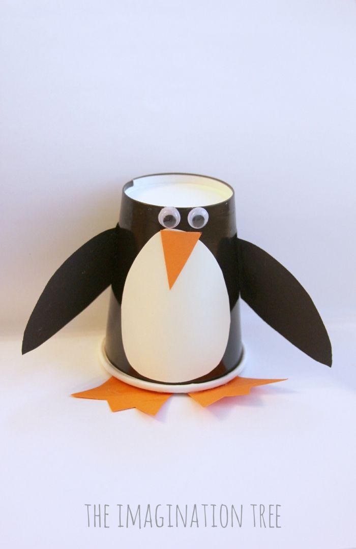 pinguine basteln aus pappbecher lustig
