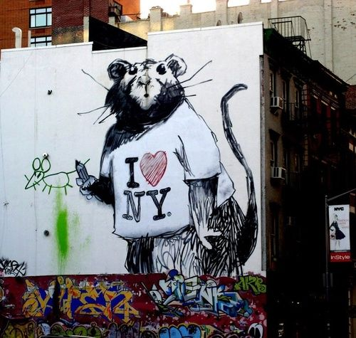 THIS IS A BANSY! However, this is not a stencil. Looks like he did three like this. Interesting  Banksy in New York