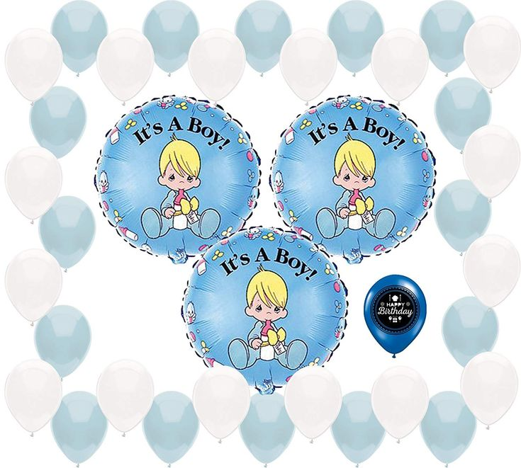 Precious Moments Baby Shower It's a Boy Blue Party Supplies Balloon Decoration Bundle - CY18CERR54H