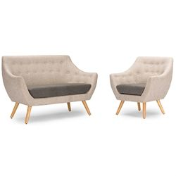 Baxton Studio Astrid Mid Century Beige Fabric Living Room Set Affordable  Modern Furniture In Chicago