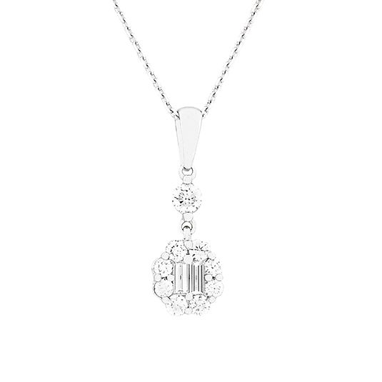 18 CARAT BAGUETTE AND ROUND DIAMOND PENDANT
