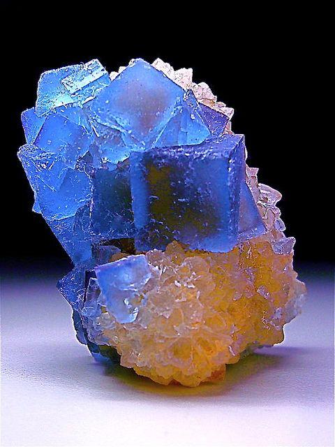 Fluorite crystals on a Quartz matrix