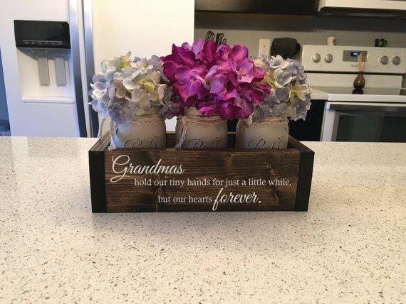 "Grandma, Gifts for Grandma, Grandma Gift, Mother's Day Gift  - ""Personalized Wood Engraved Planter Box w/ 3 Distressed Mason Jars"""