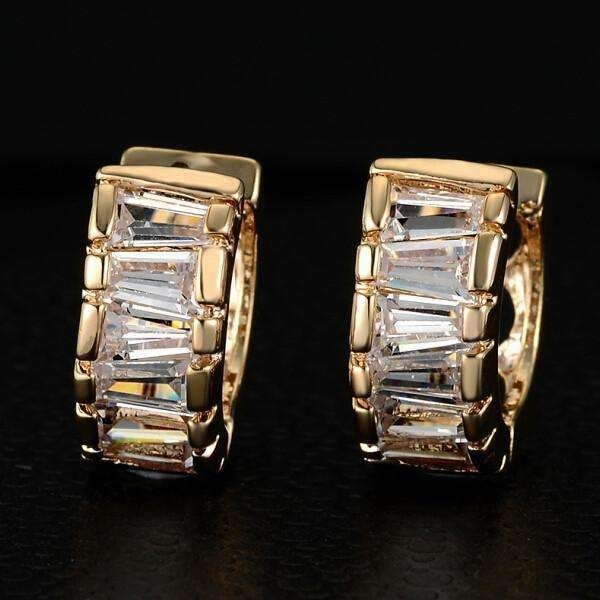 Asymmetrical Baguette Austrian Crystal Hoop Earrings - Yellow or White Gold