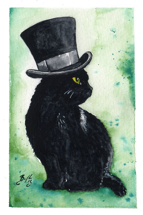 A Very Fine Hat: Fine Art Giclee Watercolour Black Cat Print --by BCDuncanDesign