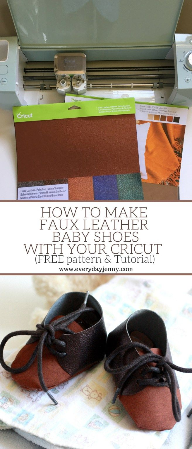 Use Cricut faux leather to make these cute baby shoes with your Cricut Explore Air 2. Picture tutorial and free pattern!