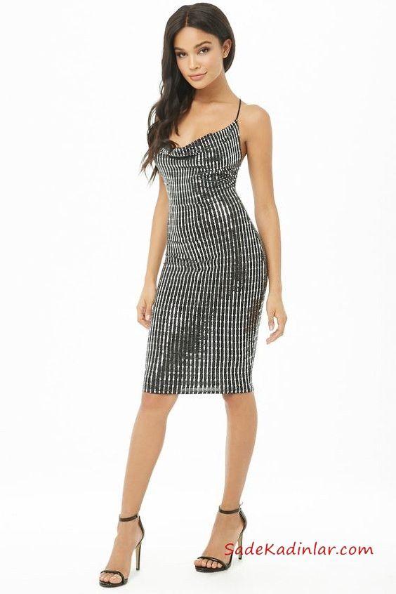 ed437cc51926d Yılbaşı İçin Gece Kıyafetleri Siyah Diz Üstü İp Askılı Degaje Yaka Payetli Abiye  Elbise #moda #fashion #fashionblogger #promdresses #evening #eveningdresses  ...