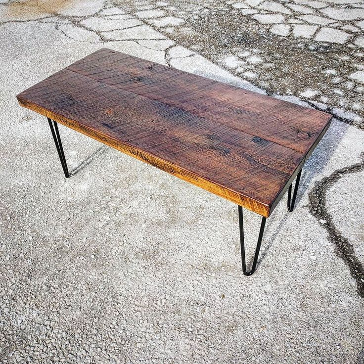 Deal if the day ! We just competed this nice rustic coffee table at our Toronto shop and it is available for sale.  It is made from reclaimed barn threshing floor boards that have been stained a rich brown tone with a satin clear coat.  It is mounted on mid century modern hairpin legs.  It is 19 inches wide 42 inches long and 18 inches tall.  Perfect for condos.  One only at $395 - dm us at sales@barnboardstore.com to purchase.  #instasale #instadeal #instagood #coffeetable #barnboard…