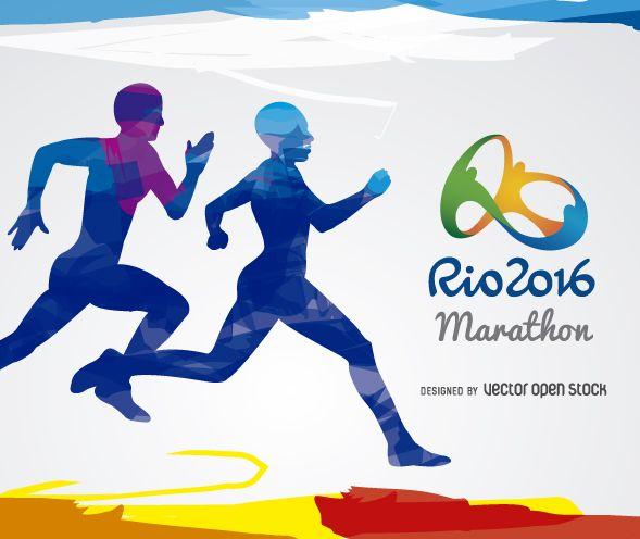 Marathon Olympics Rio 2016 design. 2 overlapped men silhouette blue, light-blue and purple tones over a white background. Includes Rio 2016 official logo.