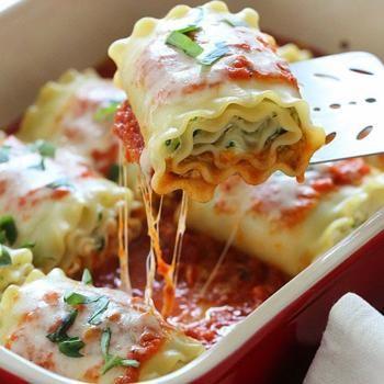 Three Cheese Zucchini Stuffed Lasagna Rolls Recipe