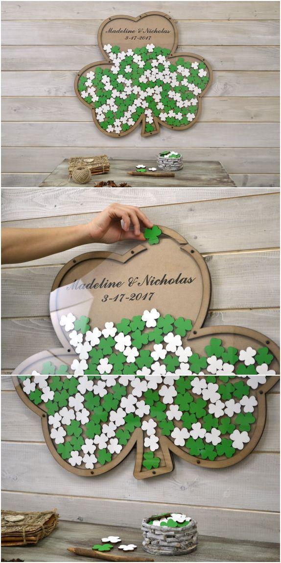 Custom 3D wedding guest book alternative Saint Patrick's Day wedding Shamroc... - Hochzeitsgeschenk