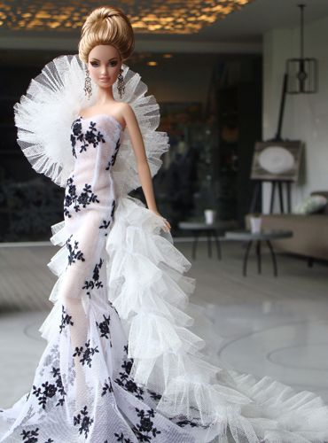 Barbie in black and white ruffles
