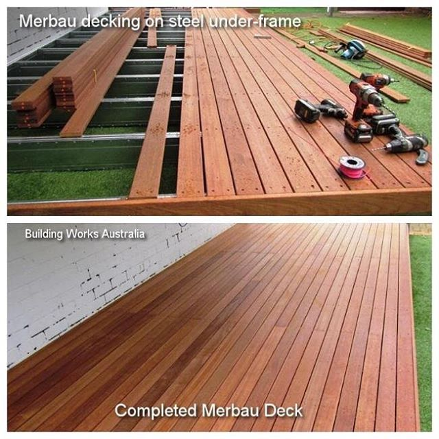 buildingworksauOur pictures show during construction and the completed Merbau deck over steel under-frame. The steel under-frame is perfect for low to ground level deck construction. The Merbau decking boards are durable, nice colour, hard wearing and best to oil the deck at least once a year as over time the boards will go a grey colour just like any hardwood where the oil is not applied. #decks @buildingworksau