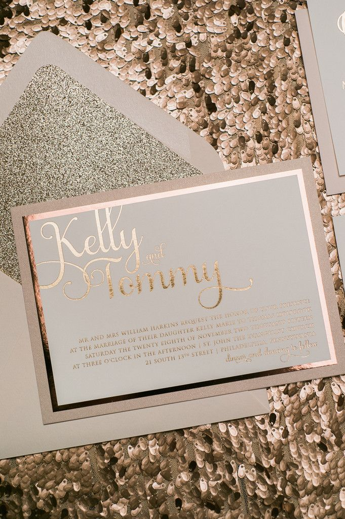 ADELE Suite Fancy Glitter Package, rose gold, foil stamping, blush and gold, blush wedding ideas, wedding invitations, black tie wedding, glitter wedding invitations