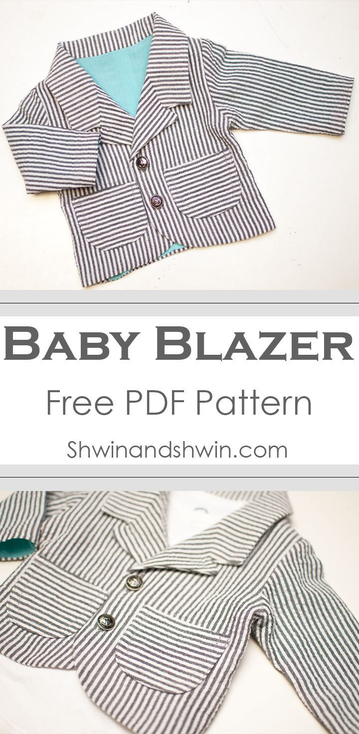 """Baby Blazer Pattern - FREE PDF Pattern, approx size 3M, 18"""" chest when buttoned, 9.5"""" from shoulder to hem, 7"""" sleeve length from shoulder to sleeve edge"""