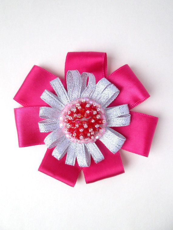Miss Strawberry Fields Pink & Silver Beaded Flower by MadiReShop