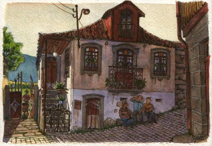 Four old men and a house - Original art, small 7x5 landscape watercolor painting inspired in Portugal