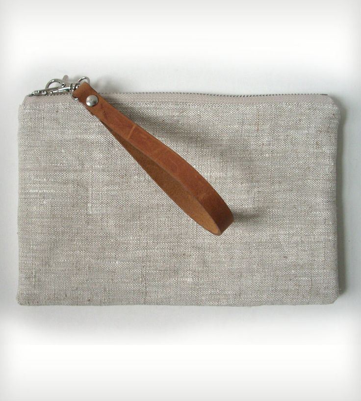 Linen and Leather Clutch Pouch
