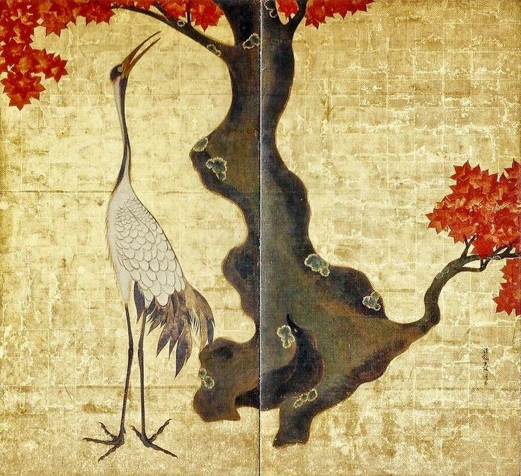 Left of a pair of two-leaf screens. Crane and Deer. Ogata Kōrin (1658-1716). Early 18th century, Edo period Tokyo, Seikado Bunko Art Museum.
