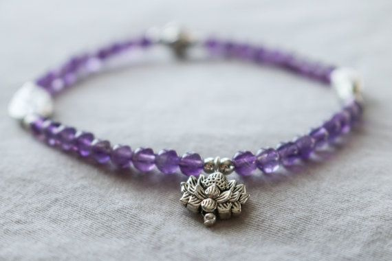 Beaded Gemstone Bracelet with Amethyst Beads by HeartOnHerSleeveCA