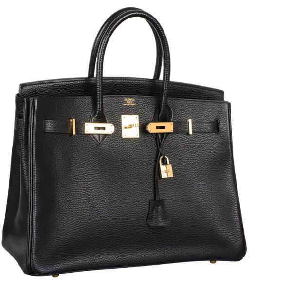 HERMES 35CM BIRKIN BAG BLACK WITH GOLD HARDWARE ARDENNE LEATHER ❤ liked on Polyvore