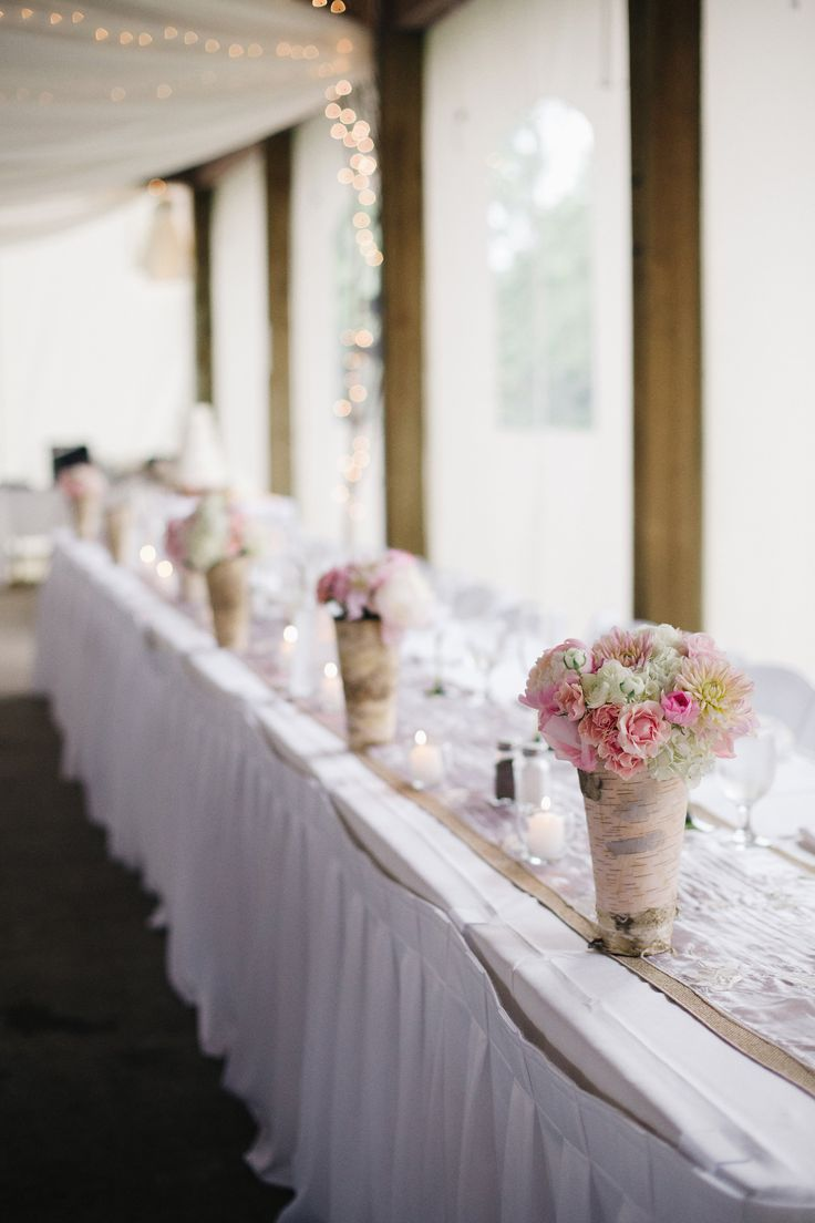 wedding reception minnetonkmn%0A Head table flowers in birch containers  Floral designed by Twin Cities  wedding florist Artemisia Studios