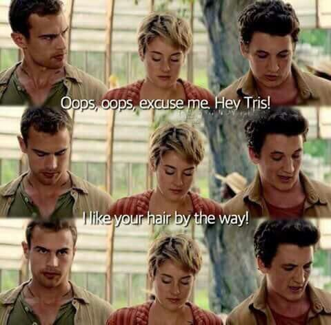 Tobias' s face should be compared to the one Katniss gives Joannah in the elevator lol