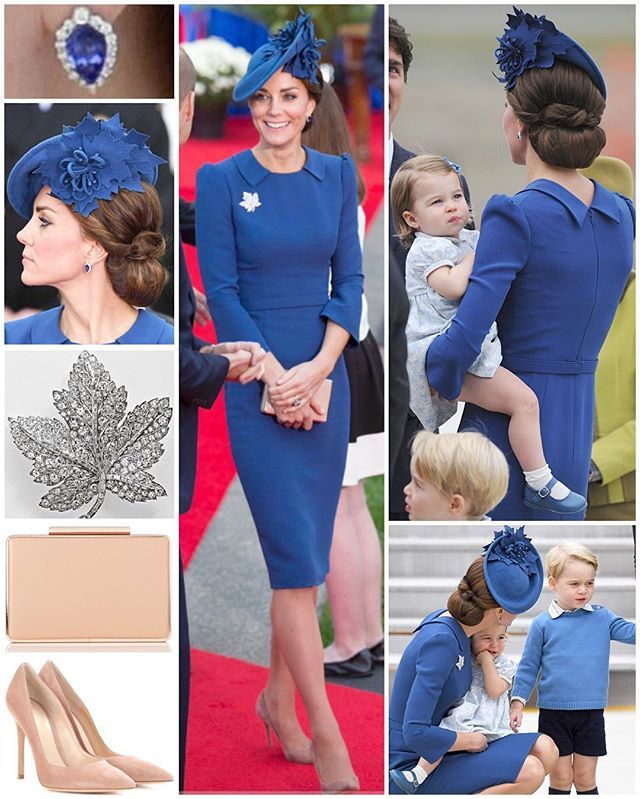 It was another fashion hit for the Duchess today as she debuted a beautifully tailored bespoke Jenny Packham dress to kick off the Canadian tour. She opted for a peacock blue for both her dress and headpiece, one of the primary colours on the British Columbia flag. The sheath style dress featured flat pointed lapels with a v-shape at the back, slightly puffed sleeves and a self belt. Kate chose a cocktail hat, perfectly matching the shade of her dress, by Sylvia Fletcher for Lock…
