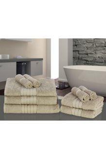 9 toalhas de algodão egípcio<BR>500 g/m² - Castanho