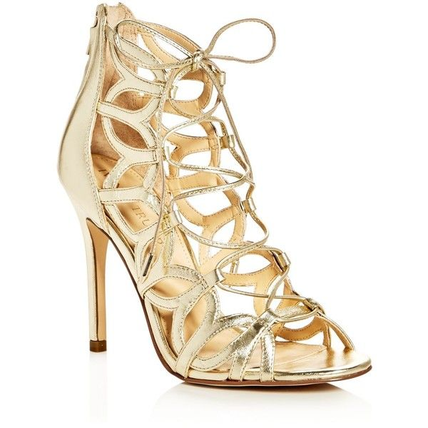 Ivanka Trump Hela Metallic Lace Up High Heel Sandals (275 BAM) ❤ liked on Polyvore featuring shoes, sandals, gold, gold sandals, gold lace up sandals, metallic shoes, laced shoes and heeled sandals