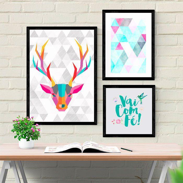 Kit de Quadros Decorativos Cervo - Encadreé Posters