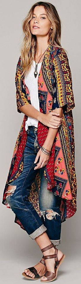 Free People ~ Short Sleeve Printed Maxi Duster