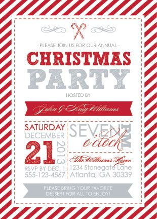 party invitations - Candy Cane Christmas by Patina and Paper